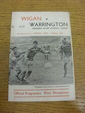 11/04/1962 liga de rugby programa: Wigan V Warrington (plegado, equipo de cambios). Bo