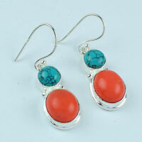 Red Coral & Turquoise Gemstone Ethnic Jewelry Handmade Earring VFJ464