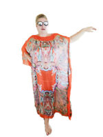 NEW ORANGE Handmade SILK Kaftan Plus Size Maxi Beach Caftan Resort Wear