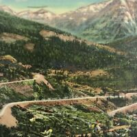 Colorado Ouray Postcard Vintage Linen Highway Switchback Posted 1950