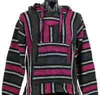 New Mexican Poncho Baja Hoodie Surfer Drug Rug Pullover Made in Mex Unisex Pink