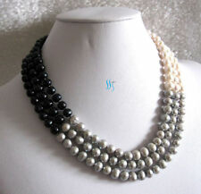 "17-19"" 7-8mm White Gray Black 3row Freshwater Pearl Necklace JN1220"