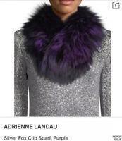 ADRIENNE LANDAU Purple-Blue-Black Dyed Fox FUR SCARF/COLLAR w/ Clip Closure BNWT