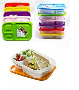 Set Of 4 Plastic Lunch Box Food Container Set Bento Lunch Boxes 3-Compartment