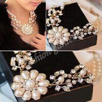 Luxury Crystal Pearl Flower Jewelry Bib Choker Chunky Statement Collar Necklace