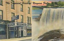 NIAGARA FALLS NEW YORK - IMPERIAL HOTEL CURTEICH SPLIT-VIEW LINEN POSTCARD