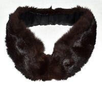 Vintage Black Genuine Rabbit Fur Tapered Cuddly Collar Scarf with Crochet Clip