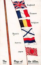 POSTCARD  MILITARY   WWI  PATRIOTIC    FLAGS  of   the  ALLIES