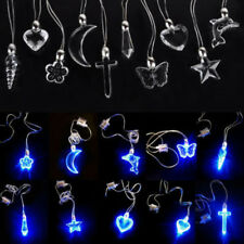 LED Blue Magnetic Light Pendant Necklace Xmas Gift Birthday Dancing Party