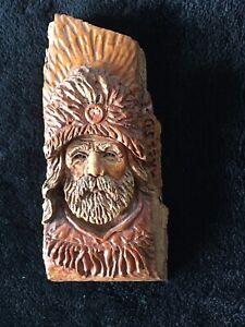 VINTAGE HAND-CARVED TREE BARK MAN OLD TRAPPER PROSPECTOR SINGLE PIECE WOOD