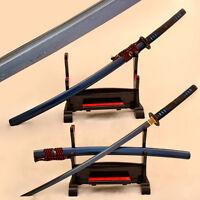 Blue Blade Samurai Japanese Katana Sword Full Tang Damascus Folded Steel Sharp
