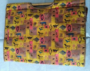 Vtg Knitting Bag Craft Sewing Storage Yellow/brown aztec type print Wood Handles