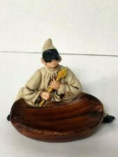 Vintage Resin Evil Man with Mask and Flame Sceptor Ashtray Unusual Halloween