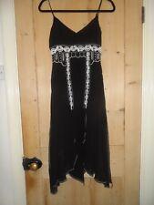 KAREN MILLEN Stunning black embellished cocktail dress UK size 8 (100% SILK)