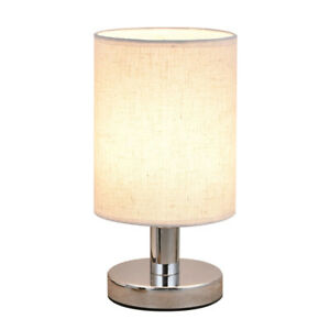 Metal Bedside Table Lamp Touch Switch Chrome Base Linen Light Shade LED Bulb
