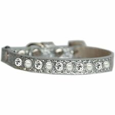 Mirage Pet Products Pearl and Clear Jewel Ice Cream Cat safety collar Silver .