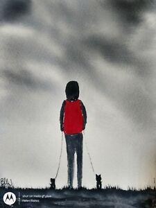 Original watercolour painting.  Pups first walk with mum.