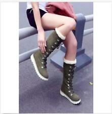 lady winter warm knee high boots flats Pull On lace-up women comfort Shoes sz