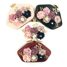 Round Womens Bags Floral Embroidery Evening Handbag Party Cocktail Wedding Purse