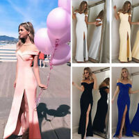Women Elegant Off Shoulder Formal Cocktail Bridesmaid Evening Maxi Long Dress
