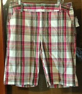 NWT Cato Sportswear Pink green  Plaid Bermuda Cotton shorts size 16
