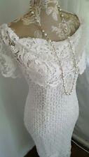 Vtg 1920,s 30's style Gatsby white crochet lace wedding dress size 14 uk
