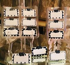 Set of 12 Ceramic Black And White Dry Erase Place Card Holders Party Wedding
