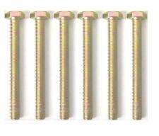 M10 X 100 HEX SETSCREW BOLT FULLY THREADED ZINC & YELLOW PLATING PACK OF 6