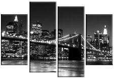 GRANDE pannello multi New York Skyline Tela ARTE Immagine Split Nero & Bianco 100cm