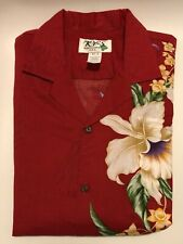 New Ky's Men's Hawaiian Cotton Aloha Shirt Orchid Panel Red Size XL