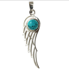 3CM ANGEL WING TURQUOISE 925 STERLING SILVER PENDANT