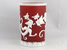 BEAUTIFUL VINTAGE CHINESE RED PEKING GLASS BRUSH POT QIANLONG PERIOD MARK