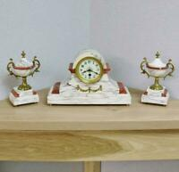 Beautiful Antique French 8 Day White & Red Marble Mantle Clock Garniture Set