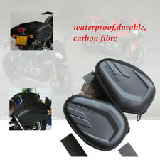 1 Pair Black Waterproof Carbon fibre Motorcycle Saddle Bags Luggage Case Tail