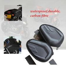 1 Pair Black Waterproof Carbon fibre Motorcycle Saddle Bags Luggage Case Tail
