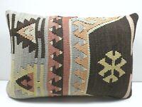"Kilim Pillow Cover, Long Rug Pillow, Turkish Decor Cushion 20""x14"" Throw Pillows"