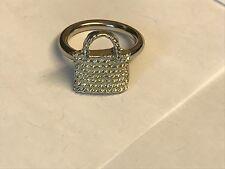 Wicker Handbag TG98 Fine English Pewter on a Scarf Ring