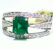 Vintage 14K Gold Natural Emerald White Diamond 2.39CT Fine Engagement Ring Deco