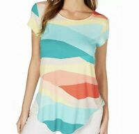 SIZE Large L Alfani Colorful Pullover Geometric Colorblock Top Blouse Shirt NWT