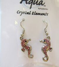 Crystal Elements - French Wire Seahorse Earrings Silver Color- Pink
