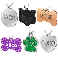 Engraved Dog Tags Pet Dog Cat ID Tags Personalised Name Address with FREE