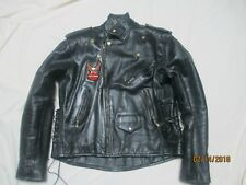 A-1 BLACK LEATHER MOTOCYCLE JACKET /SIZE 48 /SUPER CLEAN /SIDE TIES
