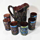 Vintage Imperial Diamond Lace Purple Carnival glass water pitcher 6 tumblers