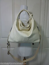 NWT Furla White Cotton Ostrich Embossed Leather S/M Elisabeth Tote Bag $598