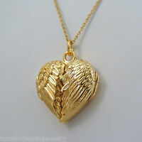 Angel Wings Heart Locket - 14K Gold Plated Sterling Silver - Memorial Love *NEW*