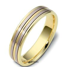 TWO TONE GOLD WEDDING RINGS, MENS WOMENS 14K WHITE & YELLOW GOLD WEDDING BANDS