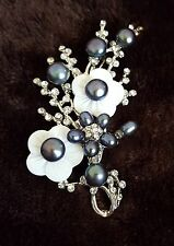 Crystal CZ & Pearls Shell Bouquet Floral MOP Pearl Brooch / Pendant