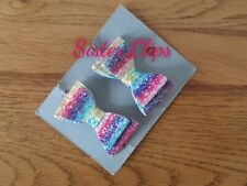 "Set of 2 toddler pigtail 1.5/"" bow hair bobbles mint//aqua /& rainbow glitter"