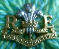 Monmouthshire Royal Engineers Cap Badge Bi-Metal 2 Parts Joined