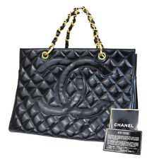 Auth CHANEL CC GST Quilted Chain Hand Bag Patent Leather Black Vintage 99L819